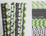 200pcs Lime Green and Black Paper Straws Mixed