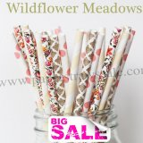 200pcs WILDFLOWER MEADOWS Paper Straws Mixed