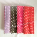 White Tiny Dot Paper Straws 1200pcs Mixed 4 Colors