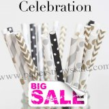 250pcs CELEBRATION Themed Paper Straws Mixed