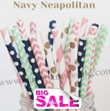 250pcs NAVY NEAPOLITAN Themed Paper Straws Mixed