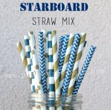 200pcs Starboard Navy and Gold Paper Straws Mixed