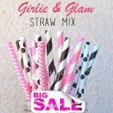 200pcs Girlie And Glam Themed Paper Straws Mixed