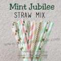 250pcs Mint Jubilee Theme Paper Straws Mixed