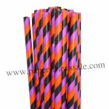 Black Orange Purple Striped Paper Straws 500pcs