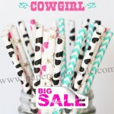 200pcs COWGIRL Pretty Themed Paper Straws Mixed
