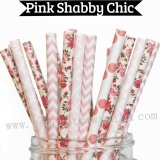 200pcs Pink Shabby Chic Paper Straws Mixed