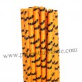 Black Bat Orange Halloween Paper Straws 500pcs