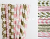 300pcs Pink and Gold Party Paper Straws Mixed