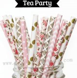 250pcs Gold Pink Tea Party Paper Straws Mixed