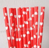Red Paper Straws with White Heart 500pcs