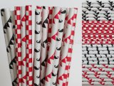 200pcs Red and Black Mustache Paper Straws Mixed