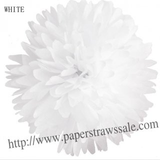 "8"" and 14"" Paper Pom Pom Tissue White 20pcs"