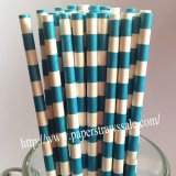 Dark Aqua Sailor Striped Paper Straws 500pcs