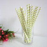 Paper Straws with YellowGreen Thin Striped 500pcs