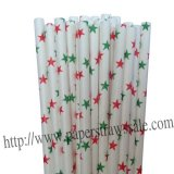 Christmas Paper Straws Green Red Star 500pcs