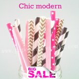 200pcs CHIC MODERN Themed Paper Straws Mixed