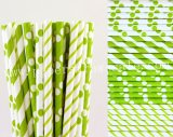 200pcs Lime Green Party Paper Straws Mixed