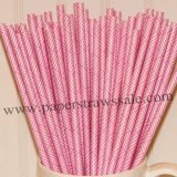 Hot Pink Weave Printed Paper Straws 500pcs