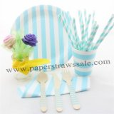 168 pieces/lot Blue Striped Party Tableware Set