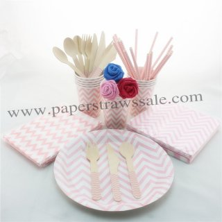 193 pieces/lot Party Dinnerware Set Pink Zig Zag