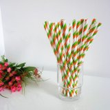 Lime Green Orange Stripe Print Paper Straws 500pcs