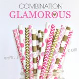 250pcs GLAMOROUS Themed Paper Straws Mixed