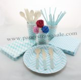 193 pieces/lot Party Tableware Kit Blue Zig Zag