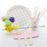 168 pieces/lot Pink Polka Dot Party Tableware Set