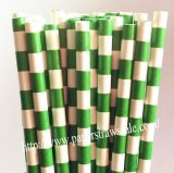 Forest Green Circle Stripes Paper Straws 500pcs