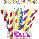 200pcs COLORFUL EMOTIONS Themed Paper Straws Mixed