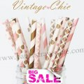 300pcs VINTAGE CHIC Paper Straws Mixed