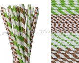 200pcs Lime Green and Brown Paper Straws Mixed