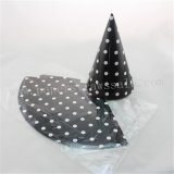 48pcs Black Paper Party Hats White Polka Dot