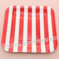 "7"" Red Striped Square Paper Plates 60pcs"