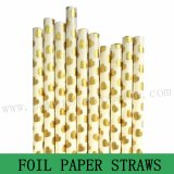 Metallic Gold Foil Heart Paper Straws 500pcs