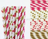 200pcs Hot Pink and Gold Paper Straws Mixed