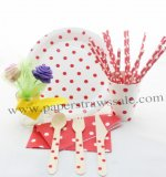 168 pieces/lot Red Polka Dot Party Tableware Set