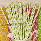 Lime Green Flag Printed Paper Straws 500pcs