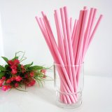 Pure Color Pink Paper Drinking Straws 500pcs