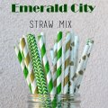 200pcs Emerald City Themed Paper Straws Mixed