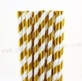 Metallic Gold Stripe Foil Paper Straws 500pcs