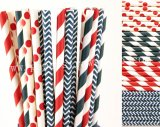200pcs Navy and Red Patriotic Paper Straws Mixed