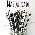200pcs Masquerade Black White Mixed Paper Straws