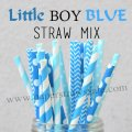200pcs Little Boy Blue Paper Straws Mixed