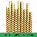 Metallic Gold Foil Chevron Paper Straws 500pcs