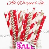 250pcs ALL WRAPPED UP Themed Paper Straws Mixed