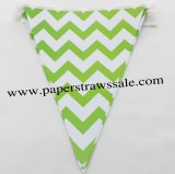 Green Chevron Party Paper Bunting Flags 20 Strings