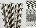 200pcs Black and White Party Paper Straws Mixed