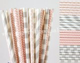 200pcs Light Pink and Silver Paper Straws Mixed
